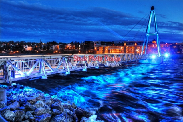 Alma City Illuminated Walkway Bridge at Night - Great Artsy RF Images for all your website creations and projects