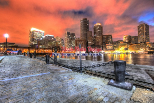 Beautiful Boston Cityscape at Night - Great Artsy RF Images for all your website creations and projects