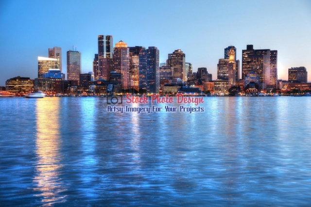 Boston Cityscape and River at Night - Great Artsy RF Images for all your website creations and projects
