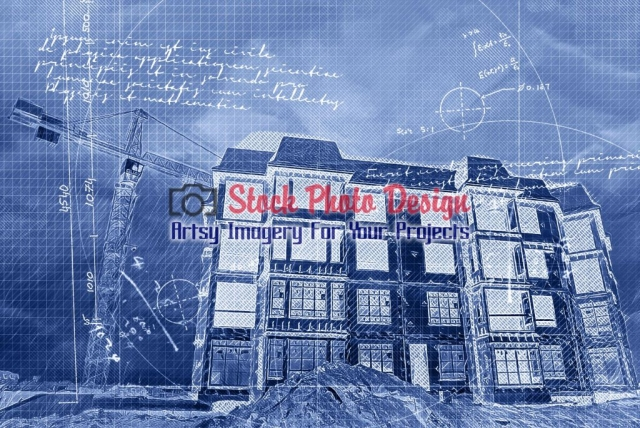 Construction Project Blueprint Artsy RF Picture
