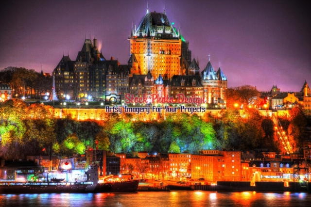 Beautiful Old Quebec City and Frontenac Castle - Great Artsy RF Images for all your website creations and projects
