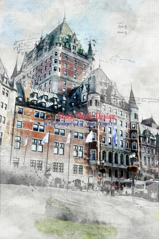 Frontenac Castle in Quebec City Artsy RF Picture