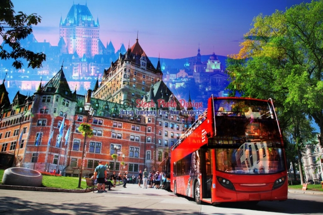 Quebec City Bus Photo-Montage - Great Artsy RF Images for all your website creations and projects