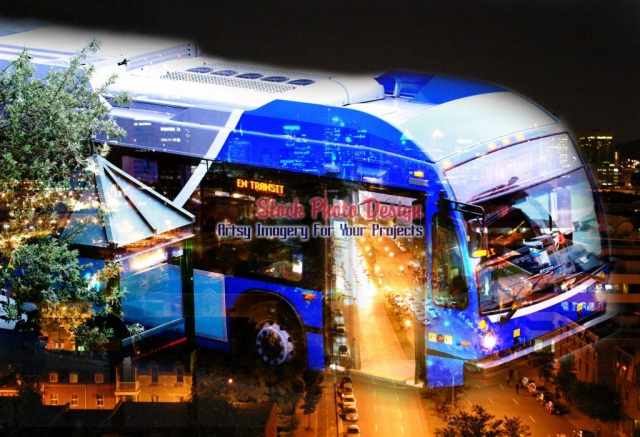 Urban Bus Photo-Montage - Great Artsy RF Images for all your website creations and projects