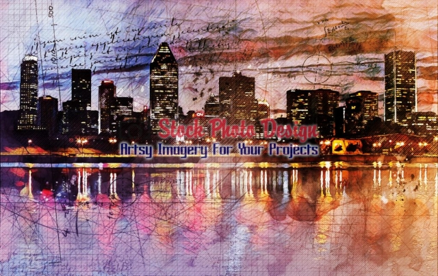 Montreal City with Grunge Effect - Great Artsy RF Images for all your website creations and projects