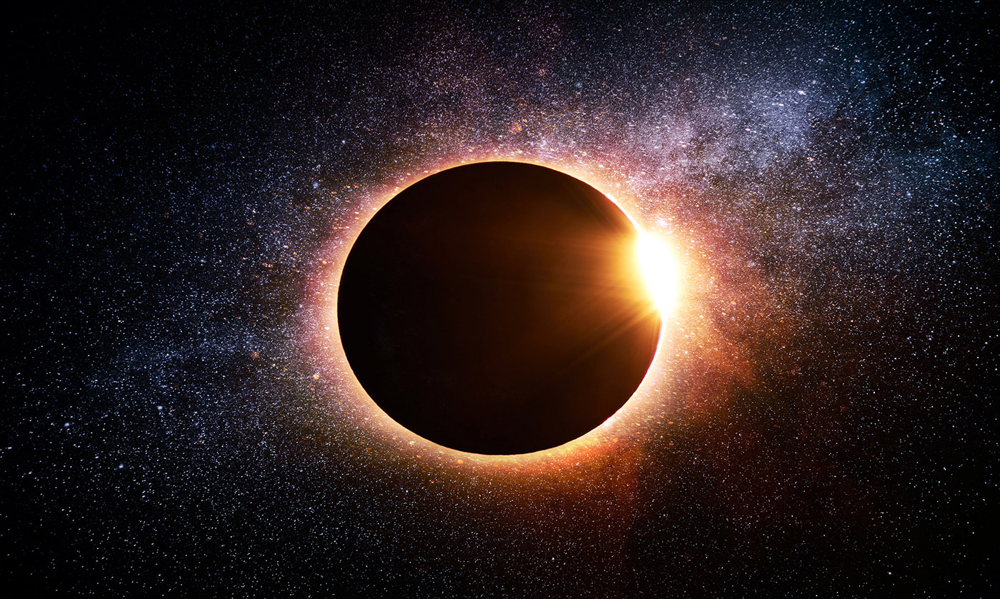 Solar Eclipse in Space Stock Image