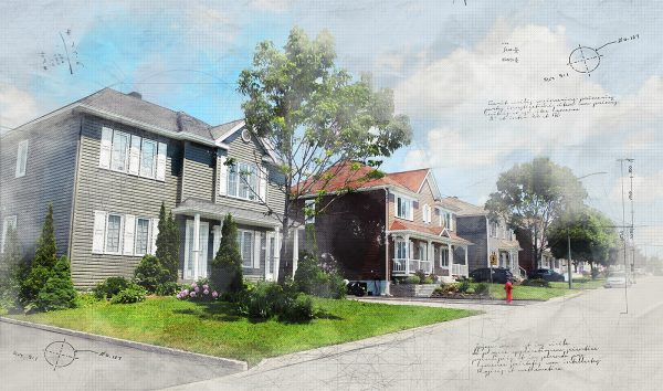 Modern Residential Neighborhood Sketch Image