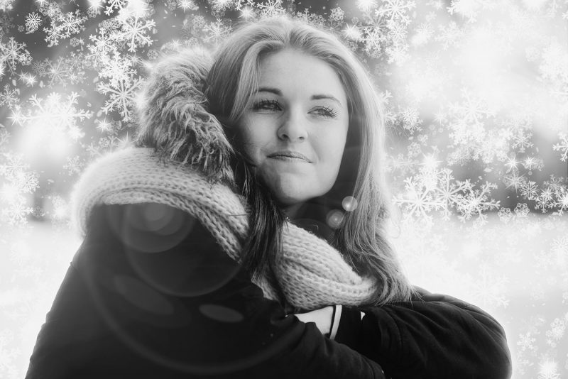 Pretty Woman in Snowy Winter Stock Photo Montage