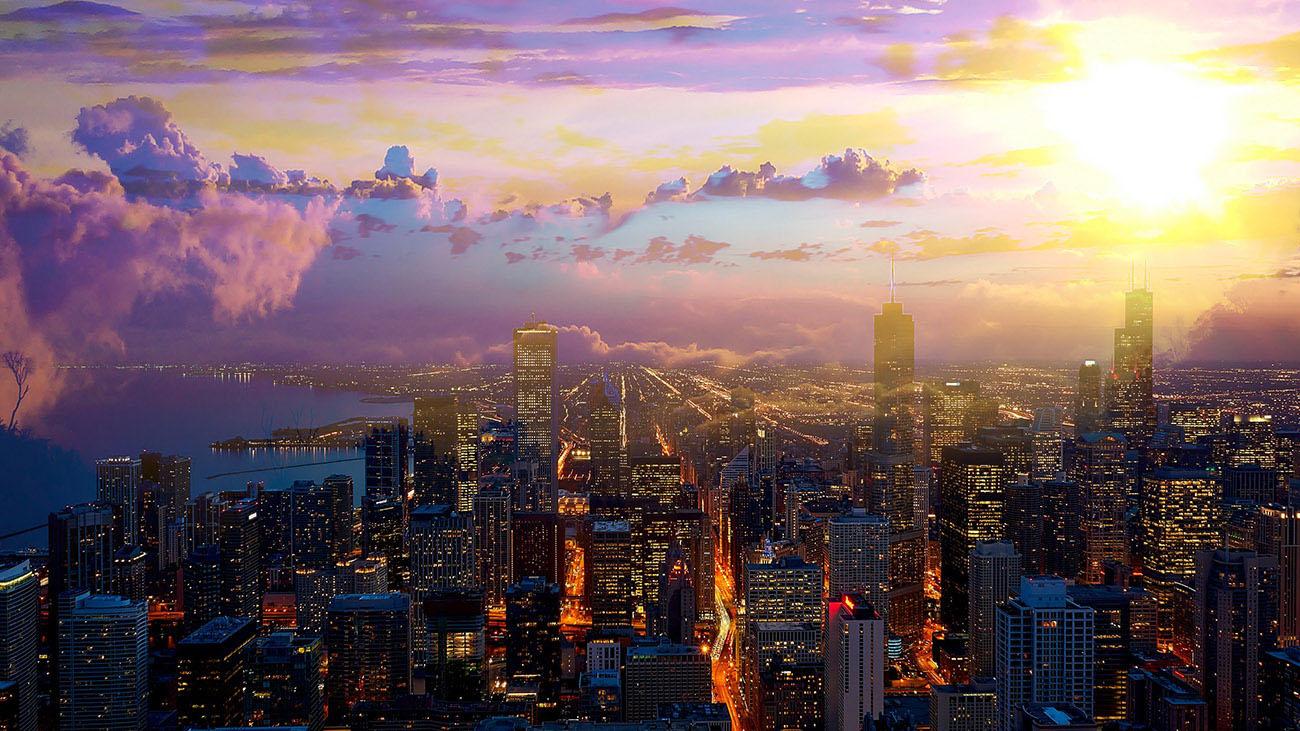 Beautiful Chicago City at Night Stock Image