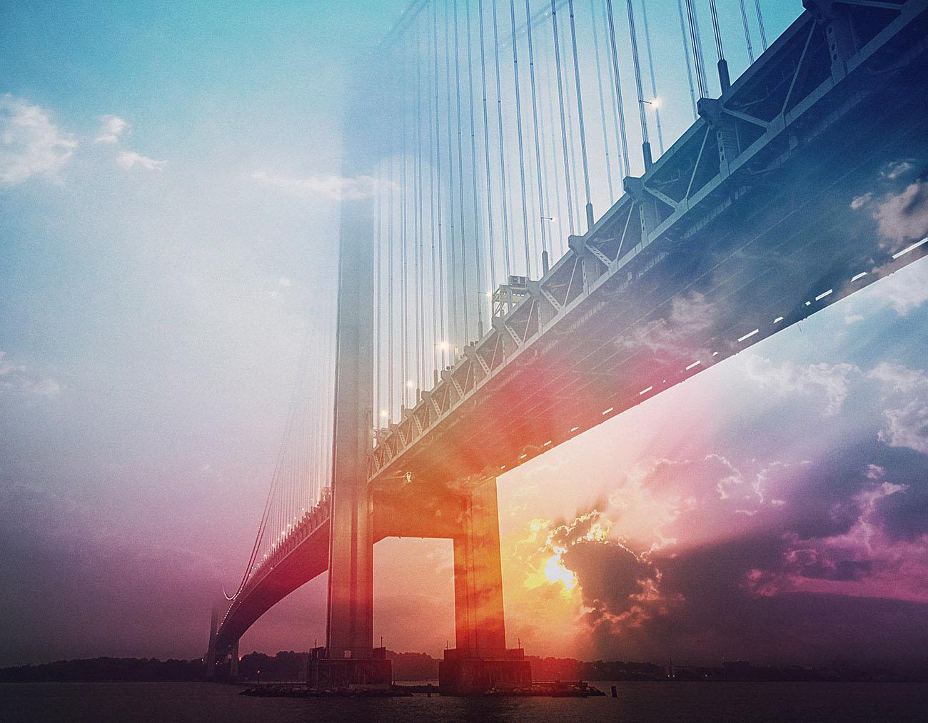 Surreal Suspension Bridge Stock Image