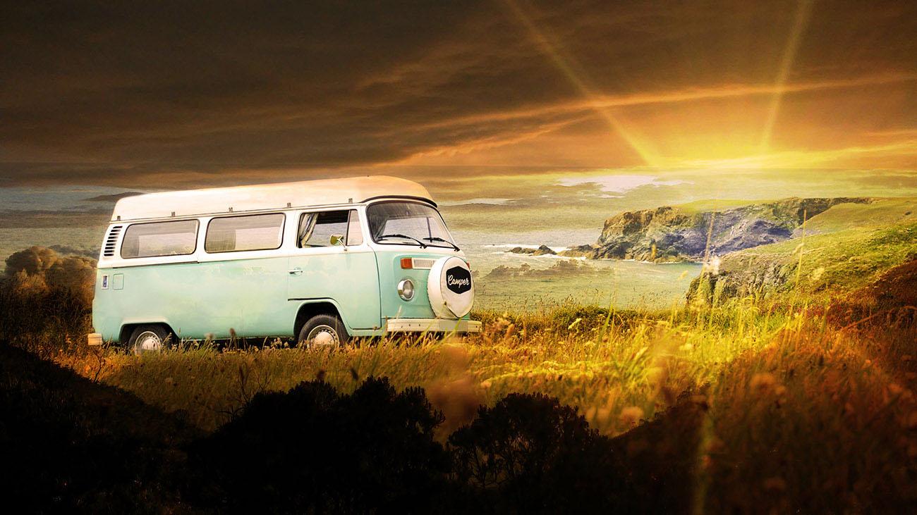 Vintage VW Camper Van Road Trip Stock Image