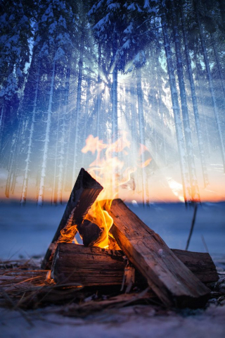 Wintery Wood Fire Stock Image