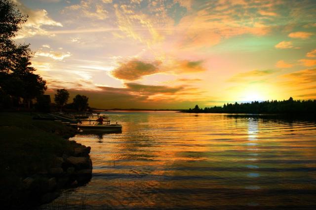 Perfect Sunset Lake Stock Image