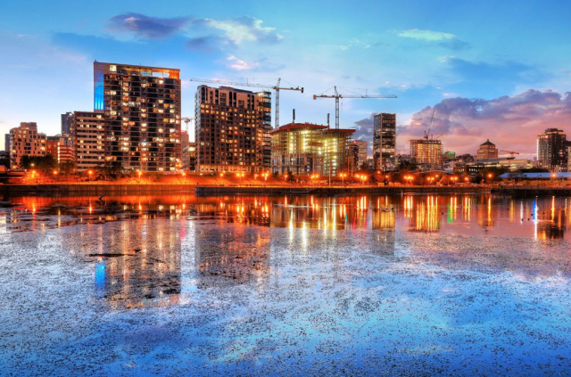 2020 Colorful Downtown Montreal Cityscape at Sunset Stock Image