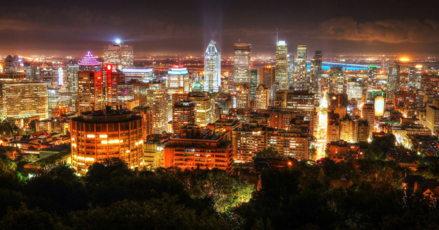 2020 Montreal City Sight at Night From Mount Royal Lookout Stock Image