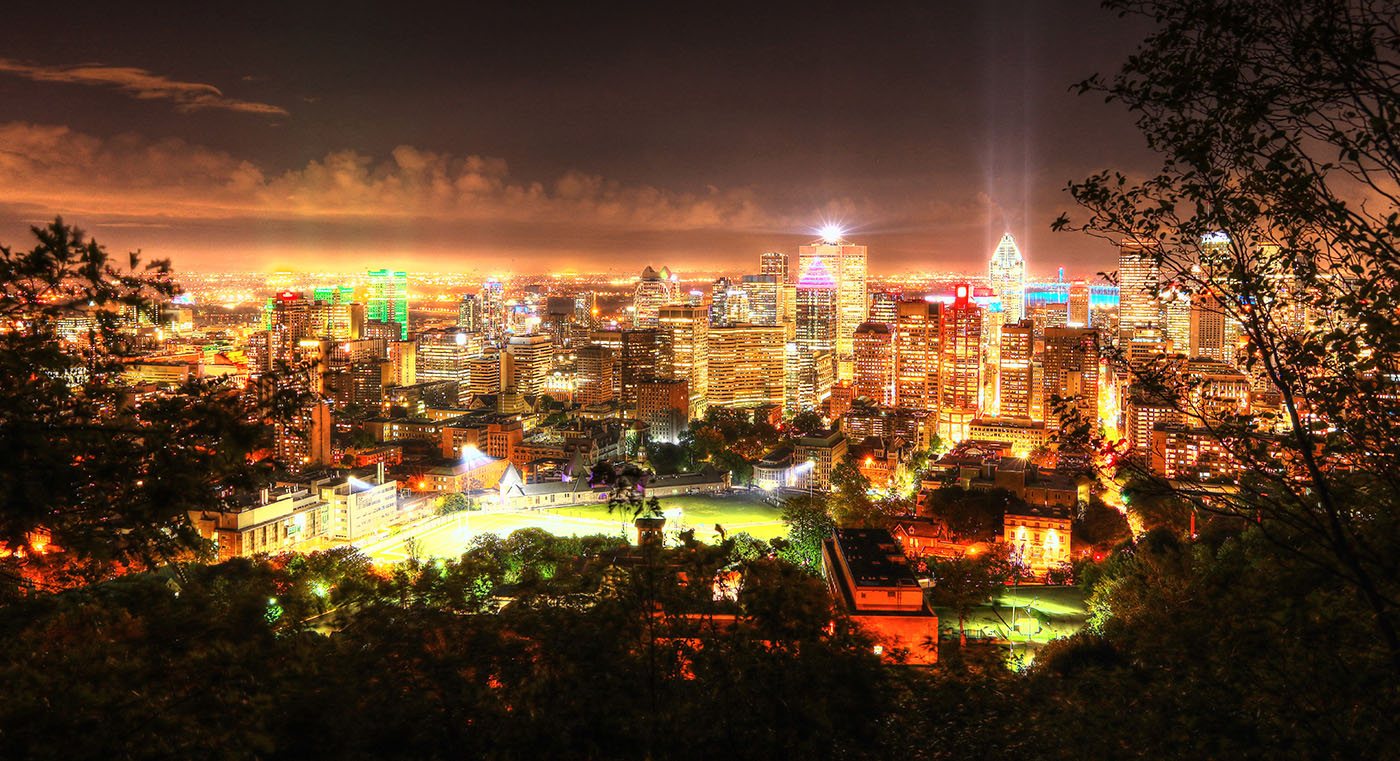 2020 Montreal City Sight at Night from the Mount Royal Hiking Trails Stock Image