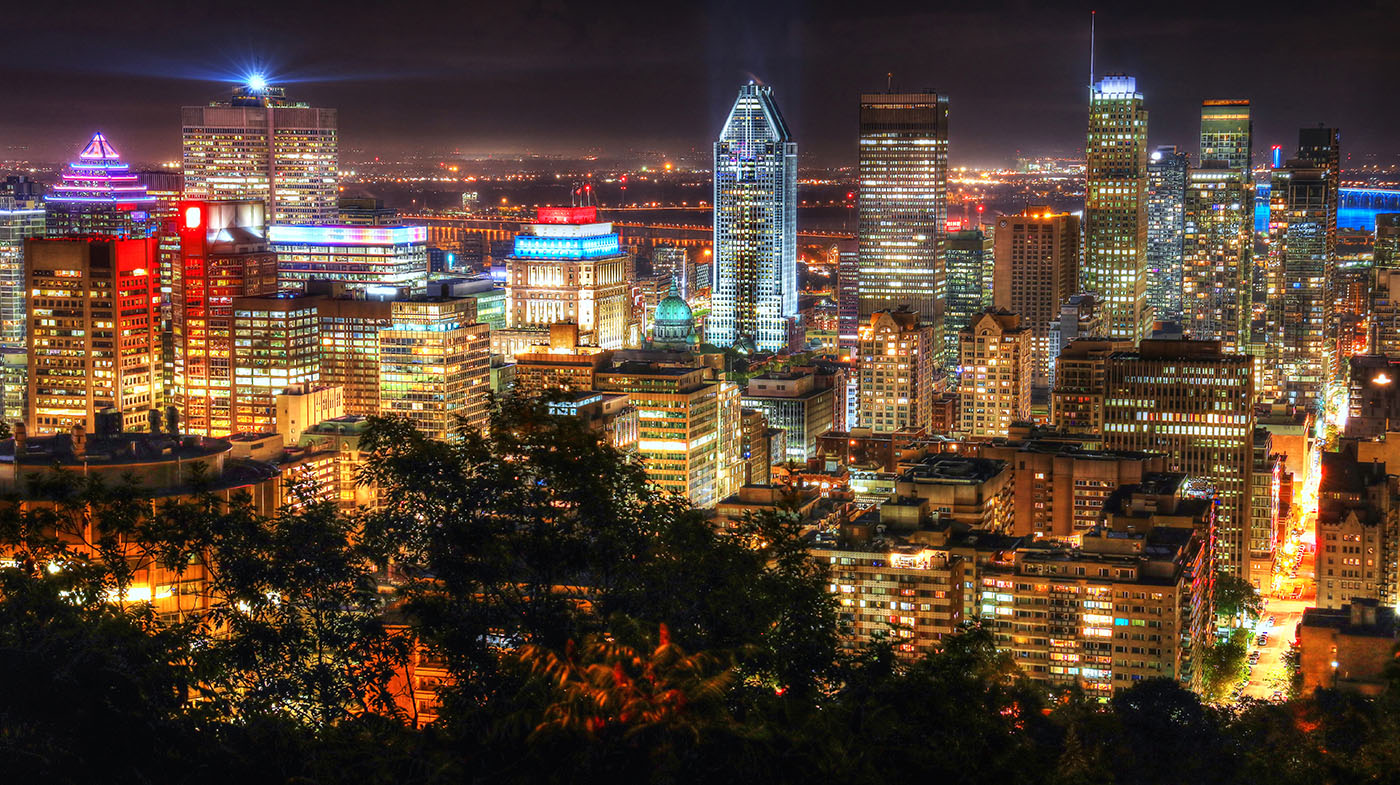 2020 Montreal City View at Night From Mount Royal Lookout Stock Image
