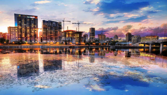 2020 Montreal City at Sunset with Water Reflection Stock Image