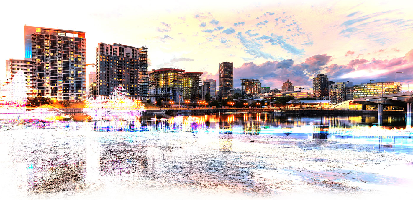 2020 Montreal Cityscape with Colorful Special Effect Stock Image