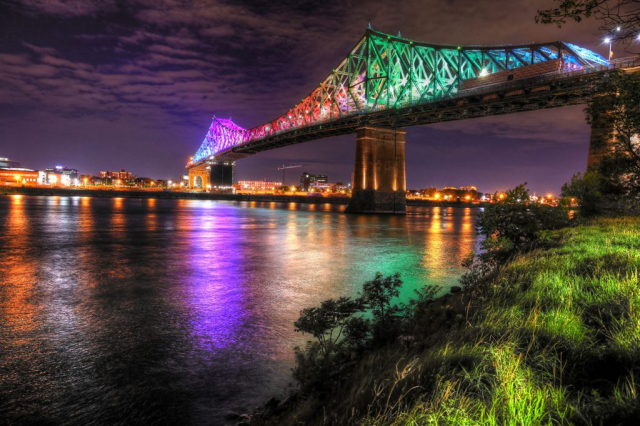 Colorful Jacques Cartier Bridge in Montreal City during Covid 19 Stock Image