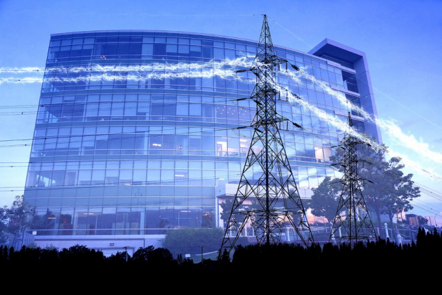 Business Electrification in Blue Stock Image