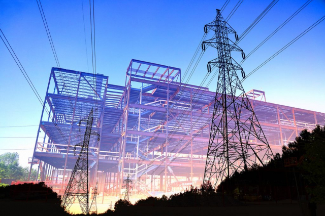Construction Industry Electrification Concept Stock Image