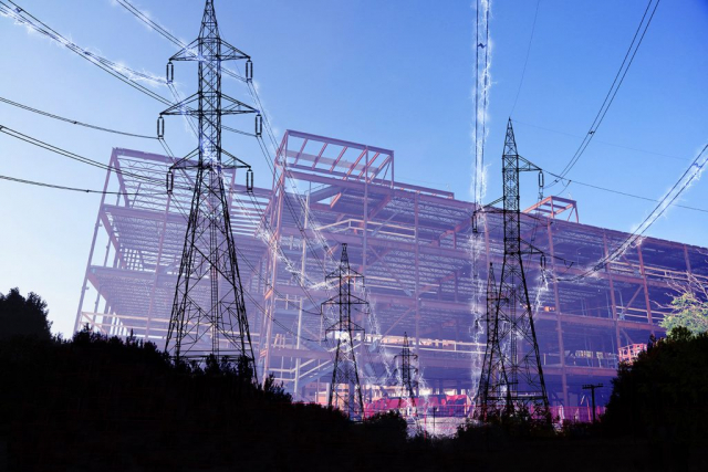 Construction Industry Electrification in Blue Stock Image