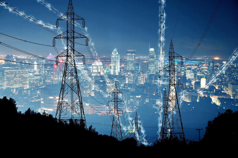 Metropolitan Electrification in Blue Stock Image