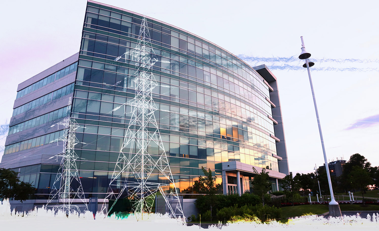 Modern Business Electrification on White Stock Image