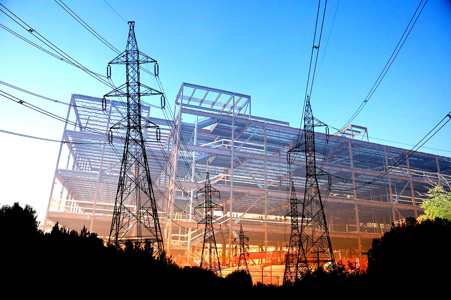Modern Construction Industry Electrification Stock Image