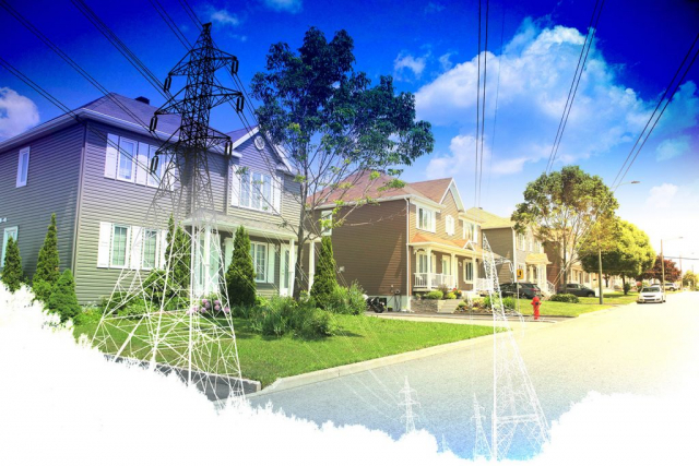 Residential Street Electrification on White Stock Image