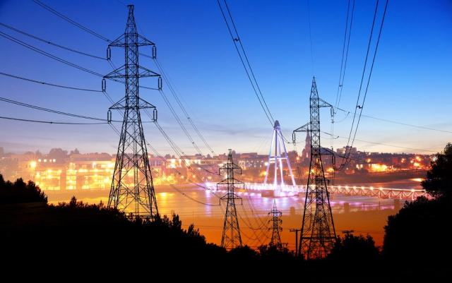 Small Town Electrification at Sunset Stock Image