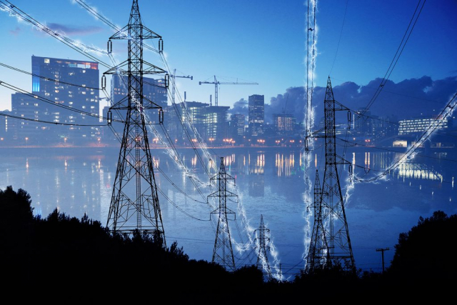 Urban Electrification Concept in Blue Stock Image