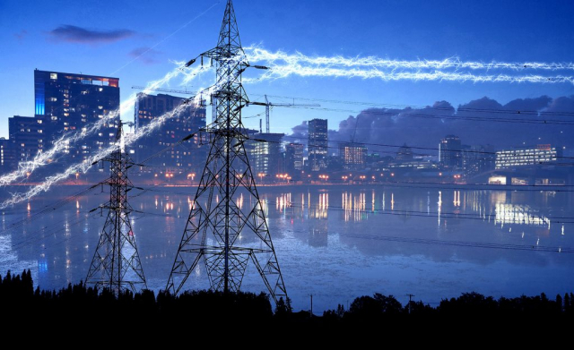 Urban Electrification in Blue Stock Image
