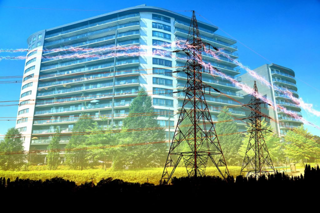 Urban Residential Building Electrification Concept Stock Image