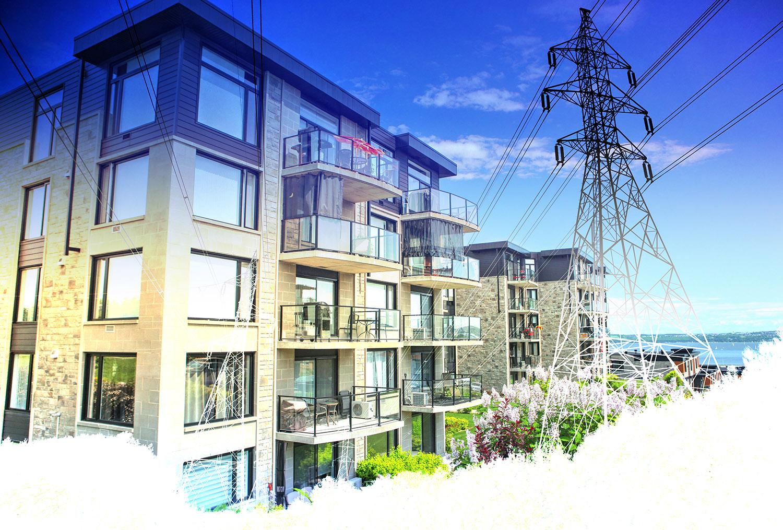 Urban Residential Electrification on White Stock Image