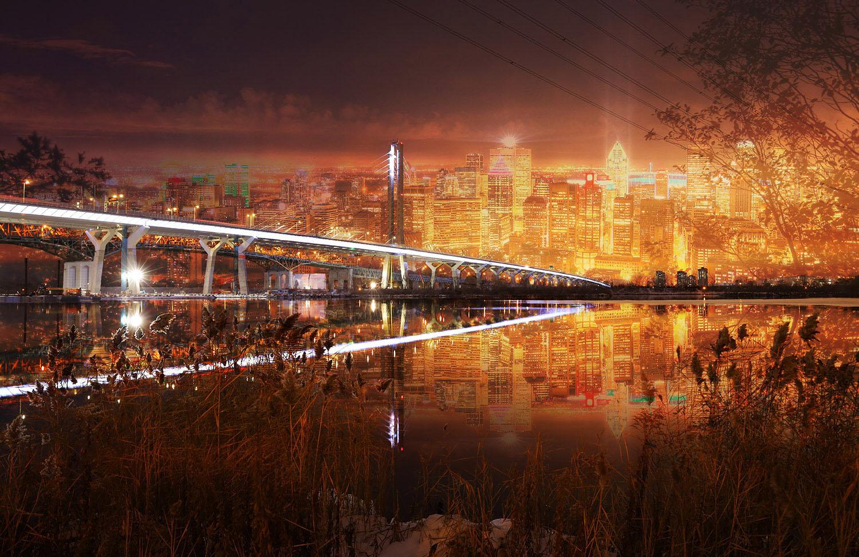 Montreal City Samuel De Champlain Bridge at Night